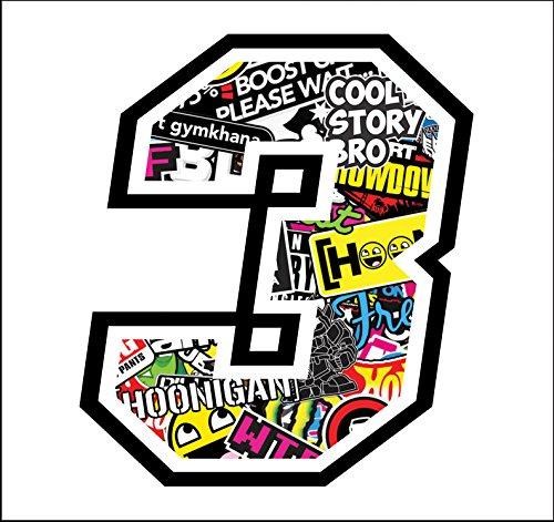 Autocollant Numero 3 Race 12 cm - Sticker Bomb - Autocollants Moto Cross Course