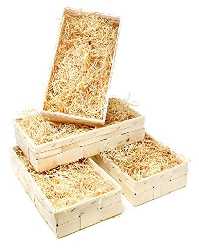 Lashuma 4er Korb Set Offene Holzkisten, Weinverpackung für 2 Flaschen, Leerer Wein Präsentkorb Eckig 35x18 cm