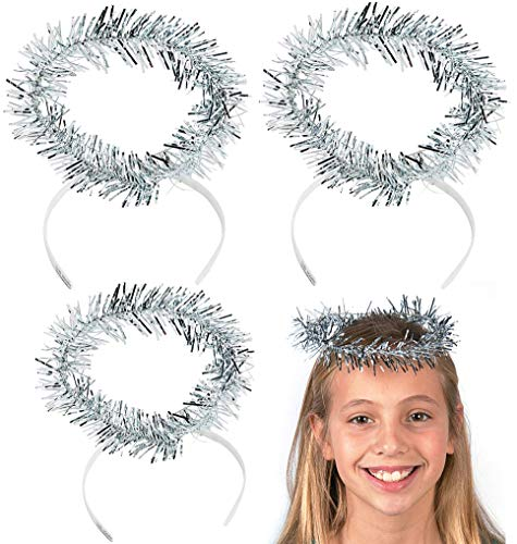 4E's Novelty Angel Halo Headband - Silver Tinsel Halos (12 Pack) Angel Costume Accessories, Christmas Party Favors. Fits Kids, Girls, Teens, Women