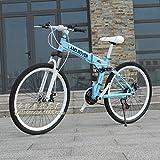 Vélo de Montagne 21 Vitesses vélo de Montagne Double Frein à Disque vélo Pliant vélo de Montagne étudiant véhicule Tout-Terrain Hommes et Femmes vélo-Roue à Rayons Bleus_26 Pouces