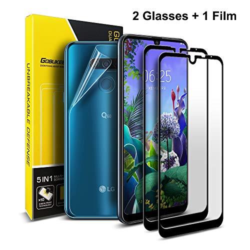 GOBUKEE [2 Pack LG X6, LG Q60, LG K50 Displayschutzfolie panzerglas [Volle Abdeckung] 9H-Härte HD Klarer Anti-Fingerabdruck-Displayschutz aus panzerglas für LG X6 / Q60 / K50 [Schwarz]