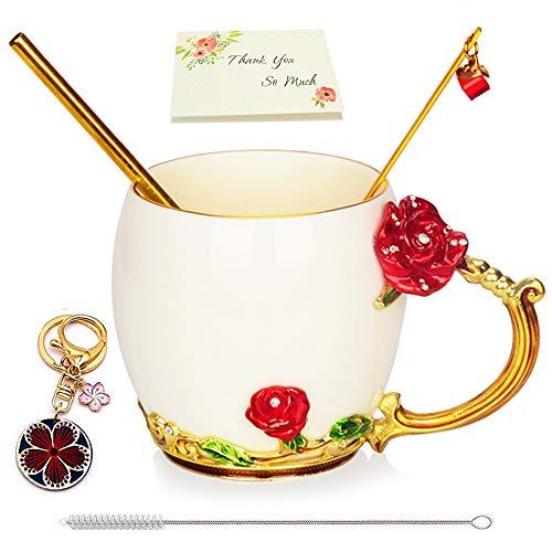 Regalo para Mujeres, Tazas De Café Esmaltadas Hechas a Mano Con Flores De Rosas, Taza De Té Con Cuchara y Pajita, Llavero De La Suerte, Regalos De Cumpleaños para Los Amantes De Sus Amigos De Mamá