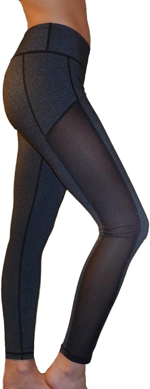 Mesh Yoga Pants Women's Workout Leggings with Side Panel by Yoggir