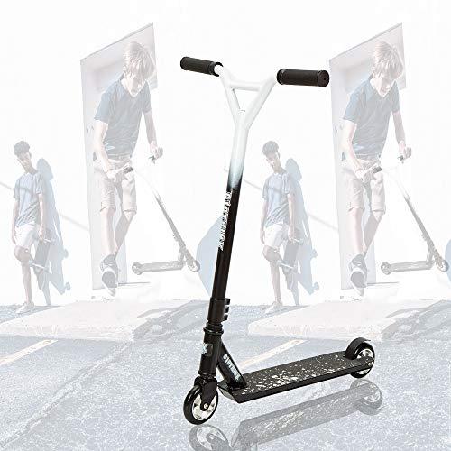Clothink Universal Pro Stunt Scooter Schwarz Weiss - Stunt Roller mit 100 mm PU Räder für ab 7 Jahren (für 120cm bis 185cm) Freestyle, Tricks, Hochleistung Tretroller