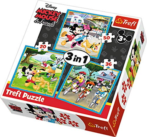 trefl- Disney 3in1 Puzzle Minnie&Mickey Mouse 20-36-50 Teile 34846 bunt
