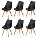 DORAFAIR Lot de 6 Chaise Scandinave Chaise à Manger Rétro Classique avec Assise rembourrée et Pieds en Bois de hêtre Massif, Noir