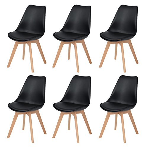 DORAFAIR 6 x Skandinavischen Retro Design Gepolsterter PP Esszimmerstühle Stuhl Küchenstuhl,mit Massivholz Buche Bein, Schwarz