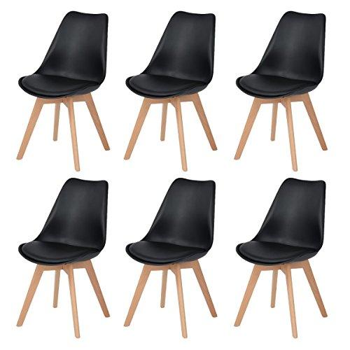 DORAFAIR Pack de 6 sillas escandinava Estilo nórdico Silla de Comedor,Pata Madera de Haya y Asiento Acolchado, Estilo nórdico - Negro
