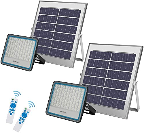 2 Pack Foco Solar LED 100W Foco Solar Exterior 176 LEDS Mando a Distancia Con Mando a Distancia Iluminación Solar Luz blanca 6500K Foco Solar LED Hasta 15 HORAS de Luz,Lámpara Solar IP67 Impermeable