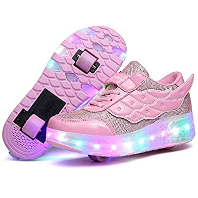 Nsasy Roller Shoes Girls Sports Sneakers LED Wheels Shoes Kid Trainers Roller Skates Size 11.5