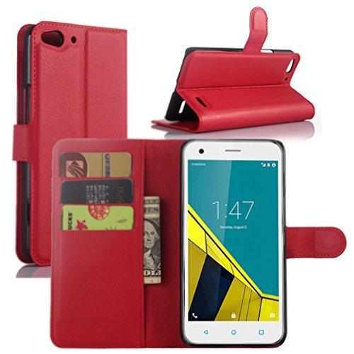 Vodafone Smart Ultra 6 Hülle, HualuBro [Standfunktion] [All Aro& Schutz] Premium PU Leder Wallet Tasche Schutzhülle Hülle Flip Cover mit Karten Slot für Vodafone Smart Ultra 6 Smartphone (Rot)