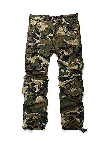 OCHENTA Pantalones de combate de camuflaje militares de algodón para hombre, pantalones de carga salvaje con 8 bolsillos (talla 29-44)