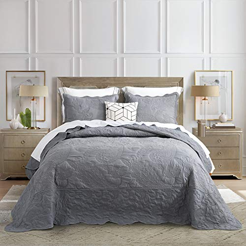 HZ&HY Oversized Bedspread Set Grey - King Size Lightweight Bedding Coverlet - 3 Piece Reversible Set with 2 Matching Pillow Shams for All Season - Embossed Exquisite Floral Pattern