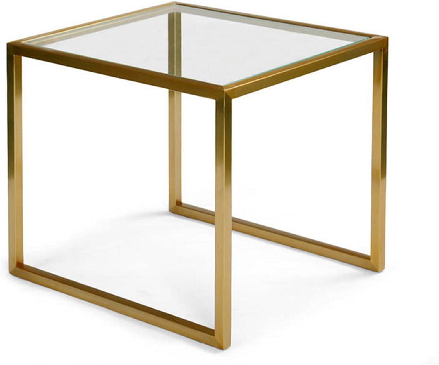 Side Table Simple Wrought Iron Glass Edge Creative Sofa Table Living Room Bedroom Small Tea Table (color   gold, Size   45  45  50cm)