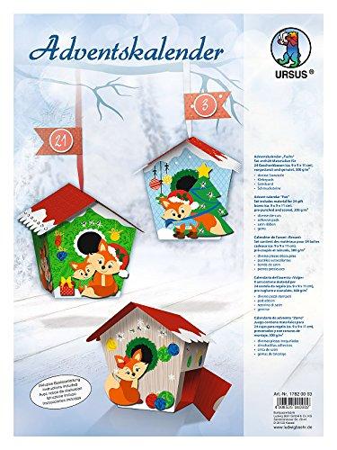 Ursus 17820003 Adventskalender Fuchs, Bastelset für 24 Geschenkboxen, bunt