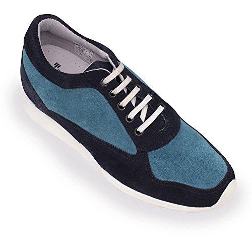 Masaltos Zapatos de Hombre con Alzas Que Aumentan Altura Hasta 7 cm. Fabricados EN Piel. Modelo Matera Bicolor Azul 45