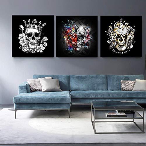 MhY 3 Panels Horrified Skull Leinwand Poster Abstrakte Halloween Druck Auf Leinwand Malerei Wandkunst Bilder für Wohnzimmer Dekoration 40 cm_x40 cm_x3 p_No_Frame