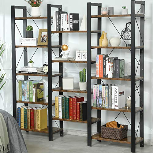 Sedeta Triple Wide 5-Shelf Bookcase, Industrial Vintage Style Bookshelves, Wood and Metal Bookshelf, Large Open Book Shelf Furniture for Home Office, Rustic Brown