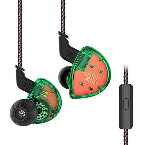 KZ ES4 Auricolari In Ear con Microfono con filo in Ear Cuffie, Yinyoo Bass HiFi Auricolari in Ear Monitor per Esercizio Palestra (Verde con Microfono)