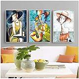 Elegante Dame Saxophon Herren Picasso Stil Kunstdruck Abbildung Leinwand Malerei Nordic Decor für Wohnzimmer Modulare Bilder 60x80 cm (23,6'x31,5) x3 Kein Rahmen