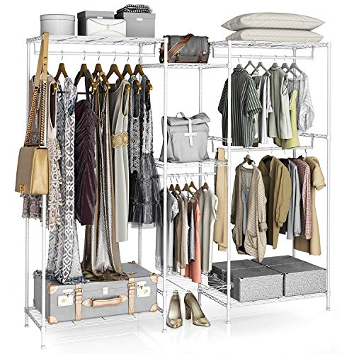 VIPEK 5 Tiers Wire Garment Rack Heavy Duty Clothes Rack for Hanging Clothes Wardrobe Rack Compact Large Metal Clothing Rack Freestanding Closet Storage Rack Max Load 59535LBS V6 White