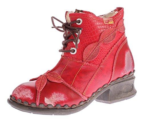 TMA Damen Winter Stiefeletten echt Leder Schuhe gefüttert Comfort Boots TMA 5188 Stiefel Rot Gr. 37