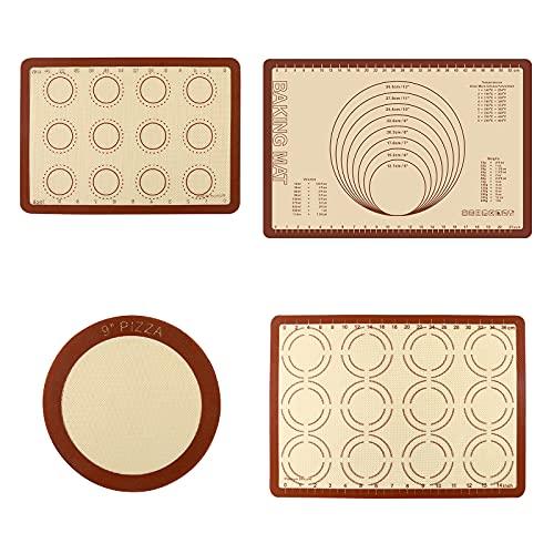Blingbin Alfombrilla de silicona para hornear macarrones, alfombrillas profesionales de silicona reutilizables para hornear galletas, pasteles, macarrones y pizza