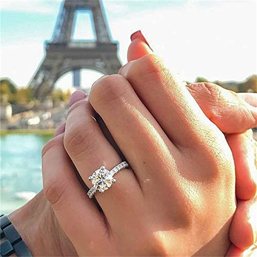 925 Sterling Silver Shiny Full Diamond Ring Cocktail Ring Round Perfect Cut Cubic Zirconia Promise Rings CZ Single Row Diamond Ring Eternity Engagement Wedding Band Ring for Women TZ.62 (US Code 6)
