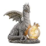 """Collections Etc Solar Dragon Stone-Like Statue with Gazing Ball - Outdoor Decorative Realistic Figurine for Yard or Garden 8 1/2"""" L x 7"""" W x 10"""" H"""