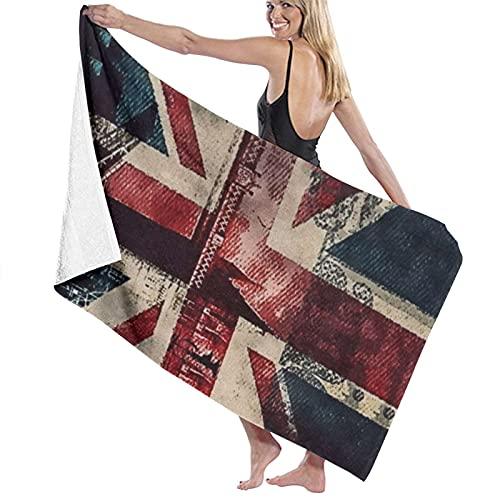 Toalla de playa con bandera de Londres y el puente de Inglaterra, suave, absorbencia, uso diario, deportes al aire libre, viajes, natación, 80 x 130 cm