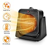 2 in1 Portable Space Heater - Quiet Combo Ceramic Electric Personal  Fan, Fast Heating, Overheat &...