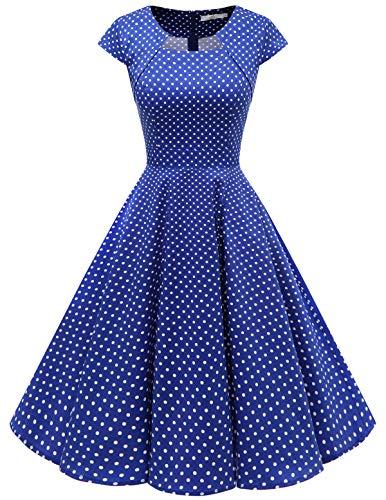 HomRain Homrain 1950er Vintage Retro Cocktailkleider Damen Kurzarm Rockabilly Kleider Party Abendkleider Schwingen Faltenrock Royalblue Small White Dot 2XL