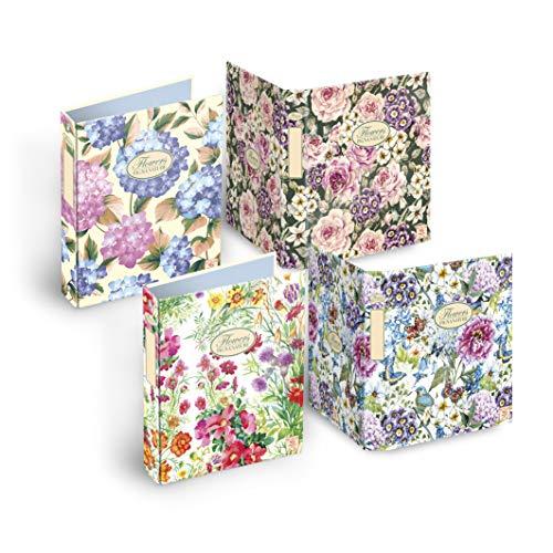 Pigna Nature Flowers 005479630, Raccoglitore Cartonato ad Anelli, formato A4, 27 x 32 cm, Pacco da 5 Pezzi