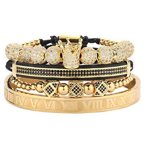 MAGIC FISH Gold Bracelets for Men Imperial Crown King Bracelets Pave CZ Pulseira Bangle Luxury Charm Fashion Jewelry