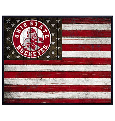 Ohio State Buckeyes Football Wall Art Print - Patriotic Flag Poster - Unique Home Decor for Dorm Room, Office, Man Cave - Gift for Men and Sports Fans - Rustic Shabby Chic 8x10 Photo Unframed