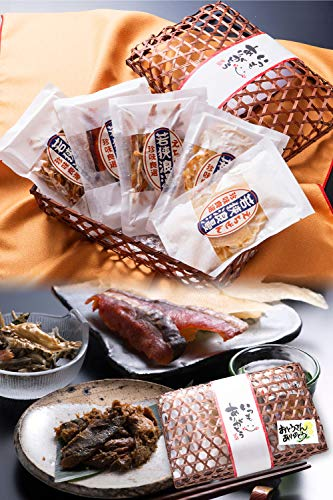 父の日 おつまみ 5種 竹かご のどぐろ 珍味 おつまみセット 小袋 人気 詰め合わせ 【通常便】 えいひれ スルメ 海鮮 手土産 プレゼント ギフト 越前宝や