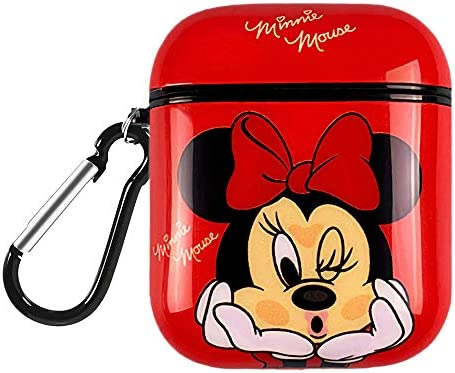 DISNEY COLLECTION AirPods Case Protectiv Cover,Fully Protected Shockproof Cartoon case with Keychain Clip Carabiner,Compatible with Apple AirPods 2 and 1 (Minnie Mouse)