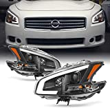 Fits 2009 2010 2011 2012 2013 2014 Nissan Maxima LED DRL Light Tube Projector Front Headlamps - Black