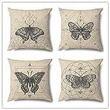 Funda de Cojine Set de 4 Funda de Almohada del Hogar Decorativa Sofá Throw Cojín Decoración Almohada Caso de la Cubierta para Sala de Estar sofás Tema de mariposa simple,Linen(40x40cm/16x16inch)