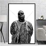 The Notorious BIG Biggie Tupac 2PAC Hip-hop Music Singer Rapper Star Fashion Crown cigarro Lienzo Pintura Arte de la pared Poster Sala de estar Fans Dormitorio Decoración para el hogar