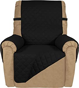PureFit Reversible Quilted Recliner Sofa Cover, Water Resistant Slipcover Furniture Protector, Washable Couch Cover with Elastic Straps for Kids, Dogs, Pets (Recliner, Black/Black)