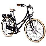 CHRISSON 28 Zoll E-Bike City Bike für Damen - EH1 schwarz mit 7 Gang Shimano Nexus Nabenschaltung - Pedelec Damen mit Ananda Vorderradmotor 250W, 36V, 40 Nm, Retro Elektrofahrrad Damen