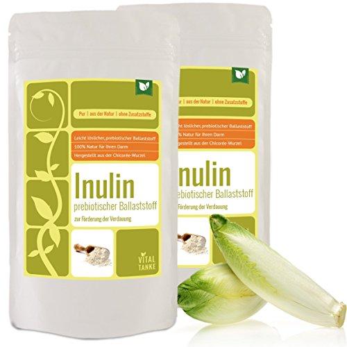Inulin 1kg (2x500g) – der ganz besondere prebiotischer Ballaststoff aus der Chicoree-Wurzel (Zichorie) Inulin kann die Darmflora positiv beeinflussen und den Knochen Gutes tun