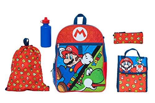 Nintendo Boys' Mario 5 Pc Set Backpack, Blue, One Size