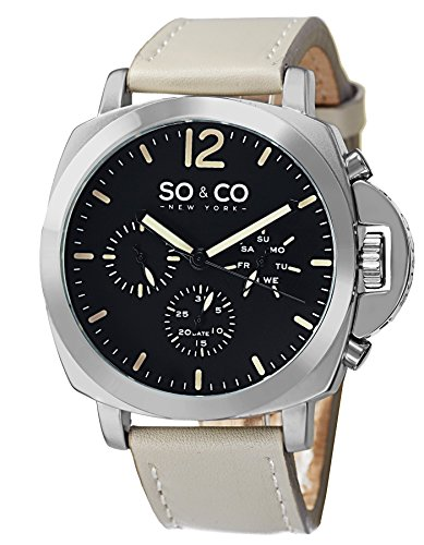 SO&CO New York Men's 5022.2 SoHo Day and Date Watch Crown Guard Ivory Leather Strap Watch