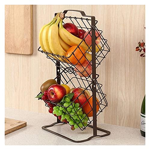 Estante De Frutas Y Verduras Mini canasta de almacenamiento de frutas de metal de 2 niveles, stand 2-nivel de almacenamiento organizador de estantes, para verduras de frutas Artículos para el hogar, A