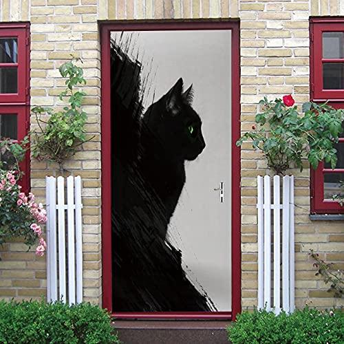 LuSeven vinilos para puertas de cristal Gato animal negro 95x215cm(37.4 inches * 84.64 inches) Impermeable Extraíble Bricolaje Pintura Mural Murales Autoadhesivos Papel Tapiz Para Puertas Interiores P