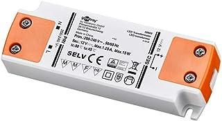 Goobay 30005 transformator 230 V (AC) naar 12 V (DC) voor 0,5 tot 15 watt ledlampen, kunststof, W, wit/oranje, 12 volt