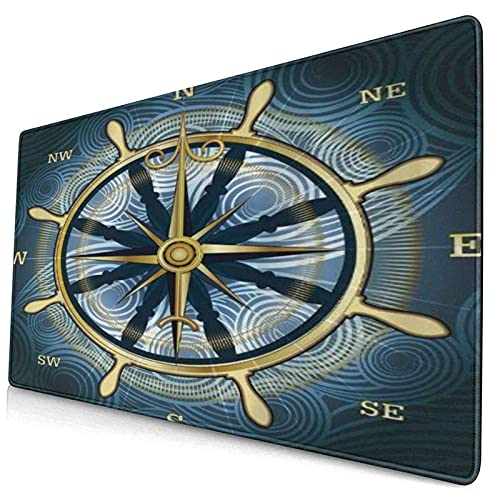 mauspad Mousepad XXL pad Gaming Laptop unterlage Schreibtisch unterlegmatte groß großes mat schwarz schön bunt mauspads Gamer lustig pc 400*900mm Einfachheit Navigation Goldener Kompass