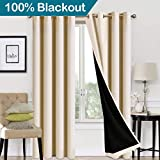 EASELAND Blackout Curtains 2 Panels Set Room Drapes Thermal Insulated Solid Grommets Window Treatment Pair for Bedroom, Nursery, Living Room,Lined Beige,W52xL84